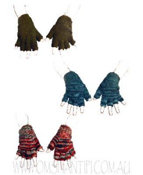 KNITTED WOOL HALF FINGER GLOVES WITH FLEECE LINING