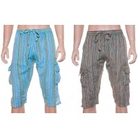 3/4 stone wash elastic pants-stripes