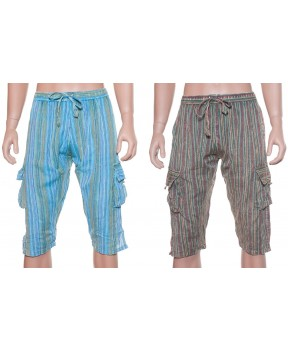 3/4 stone wash elastic pants-stripes
