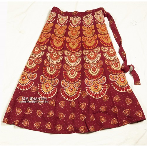 BLOCK PRINT LONG UMBRELLA WRAP SKIRT