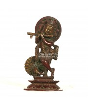 Krishna with peacock brass statue