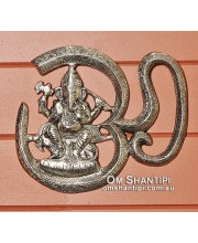 Hanging Metal Om with Ganesh