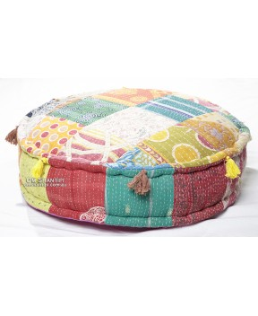 Kantha Patch Pouf 60x60x15