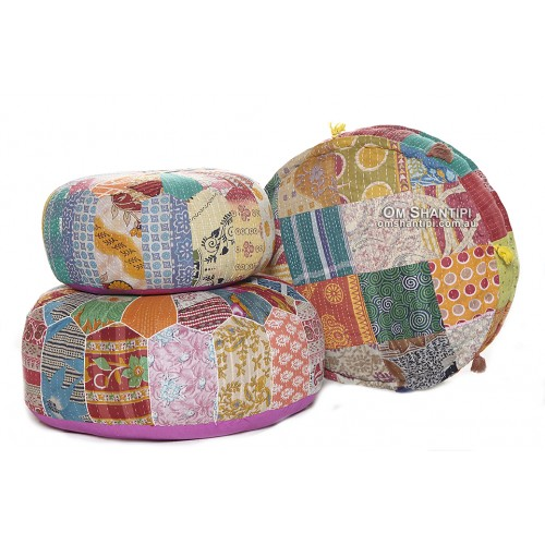Kantha Small Pumpkin Pouf