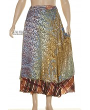 Silk Sari 2 Layer Long Wrap Skirt