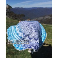 Round Mandala Throw w/pom poms