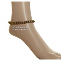 Brass and Stone Bead Anklet