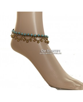 Brass Bead and Stone Anklet