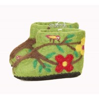 Forest green kids felt slippers
