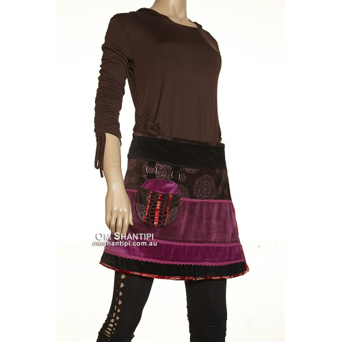 Velvet Reversable over Skirt w/lace